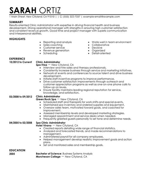 Clinic Administrator Resume Sample   My Perfect Resume