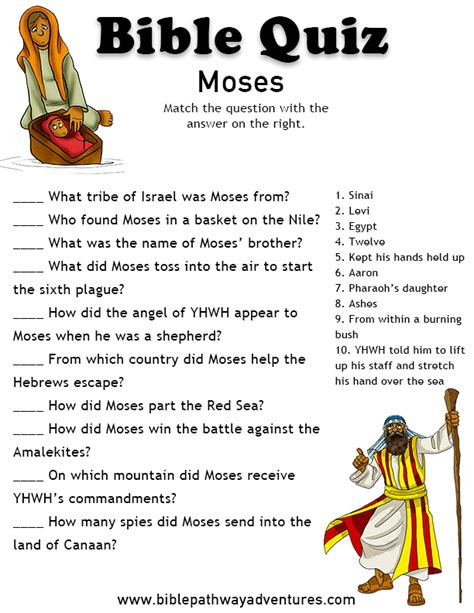 free printable bible quiz the life of moses egypt