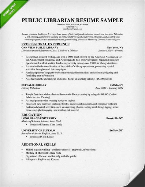 Resume Cover Letter Librarian Librarian Resume Sle Writing Guide Rg