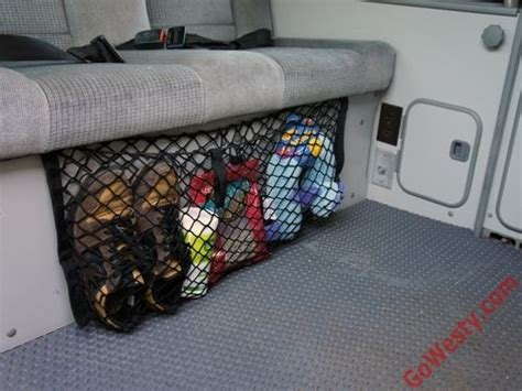 bench seat cargo net gowesty camper products parts supplier  vw vanagon eurovan  bus