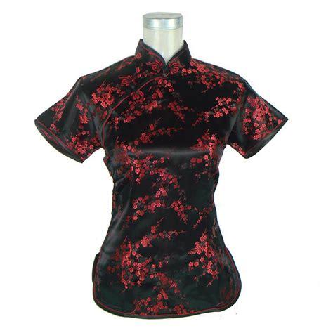 16799 Black S M L Sale Blouse sale black silk satin shirt summer sleeve blouse mandarin collar