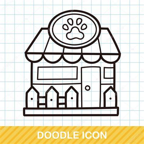 doodle pet shop pet store doodle vector illustration stock vector