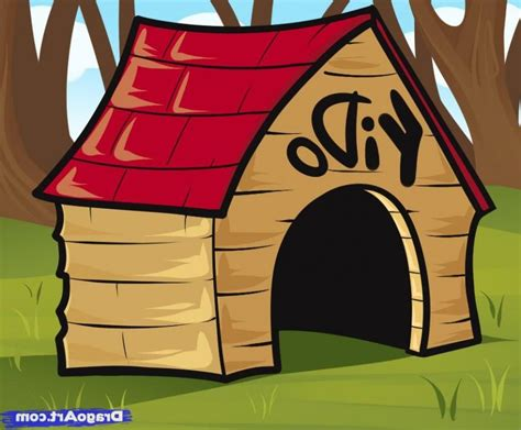 how to draw a dog house step by step photos of cartoon dog houses