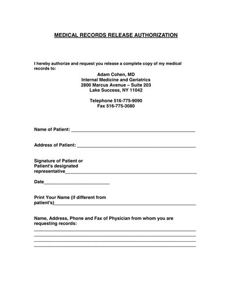 Authorization To Release Medical Records Form Template Templates Resume Exles 3rax0bzaq0 Records Consent Form Template
