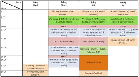 Program Tentative Schedule Template