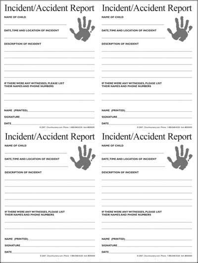 Incident Report Exle Childcare nursery incident form mpc nursery nursery church nursery and churches