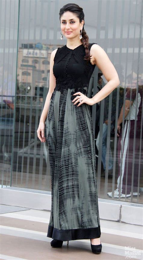 bollywood actress maxi dress kareena kapoor khan wears a black and grey ensemble for a