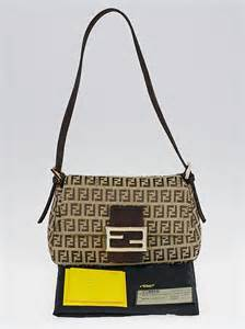 Fendi Mini Mamma Purse by Fendi Brown Zucchino Print Canvas Mini Baguette Bag