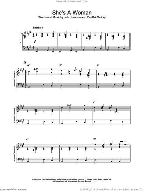 Beatles - She's A Woman sheet music for piano solo [PDF]