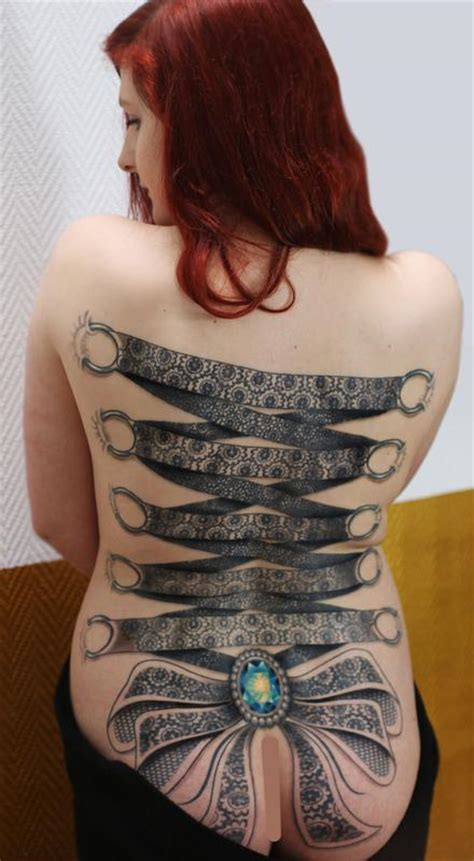 full back piece by watsun atkinsun tattoonow ornamental lace corset backpiece tattoo with crystal