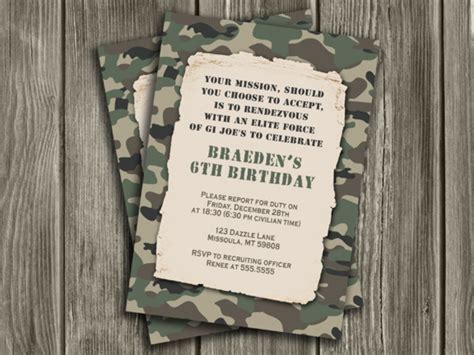 Printable Gi Joe Birthday Cards | printable camouflage army birthday invitation c gi