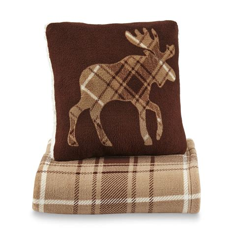 Microplush Pillow - cannon microplush pillow throw set moose home bed