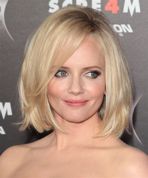 midlength jagged blunt cuts marley shelton medium straight casual bob hairstyle with