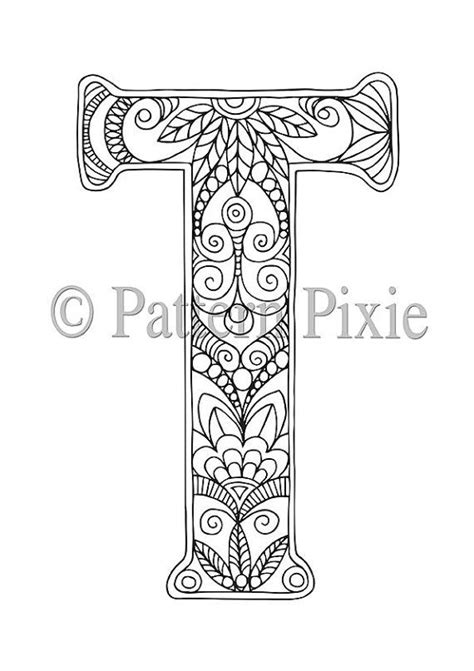 Letter T Coloring Pages For Adults 605 best alphabet and fonts images on