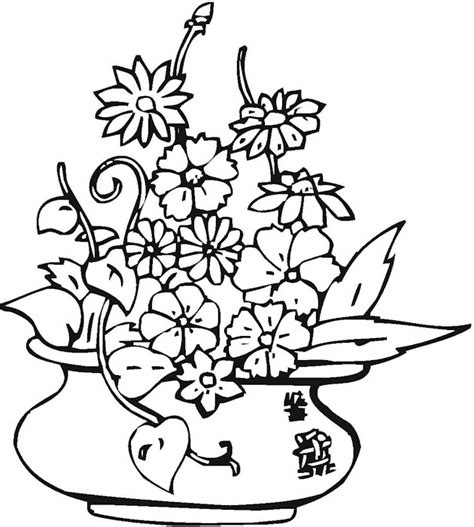 coloring pages of flowers in a vase free coloring pages of flower vase