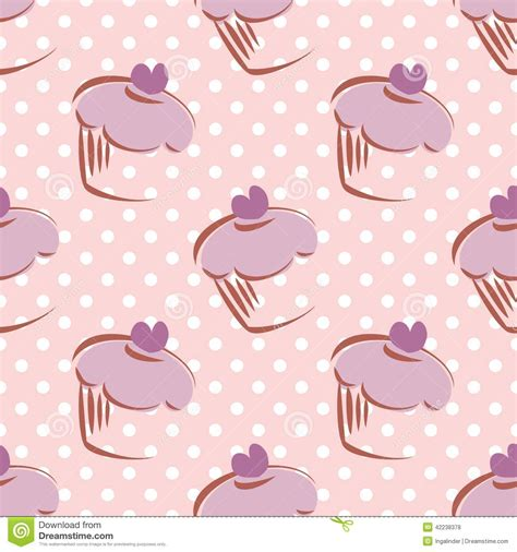 cake background pattern vector tile vector pattern with cupcake and polka dots ba stock