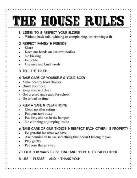 Image Result For Family House Rules Contract Home Pinterest Common Sense House And House Host Family Contract Template
