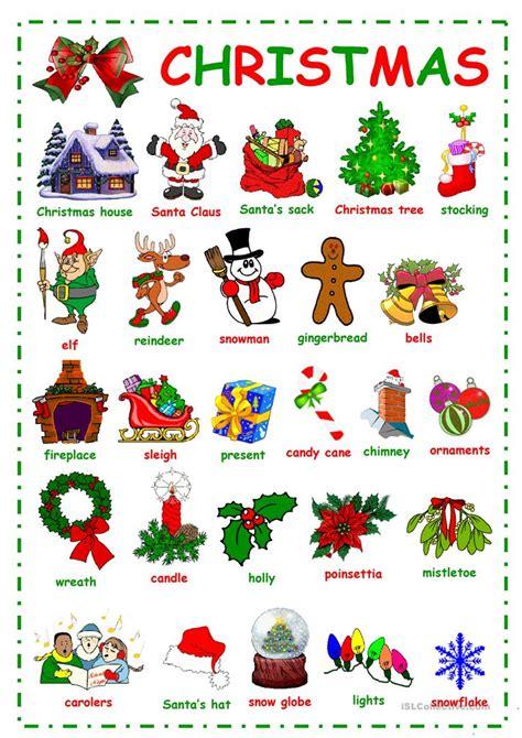 english printable worksheets christmas christmas vocabulary worksheet free esl printable
