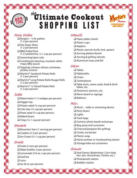 Backyard Bbq Shopping List Bbq Food List