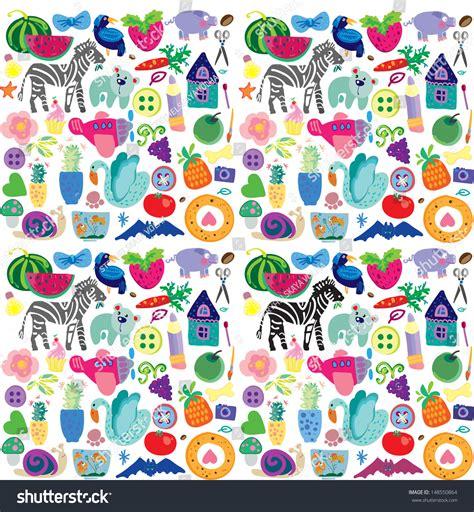 design pattern for zoo fun toy set zoo pattern cartoon stock vector 148550864