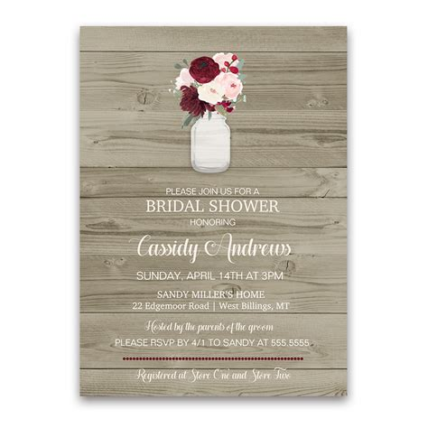bridal shower for the only rustic wedding reception only invitation jar