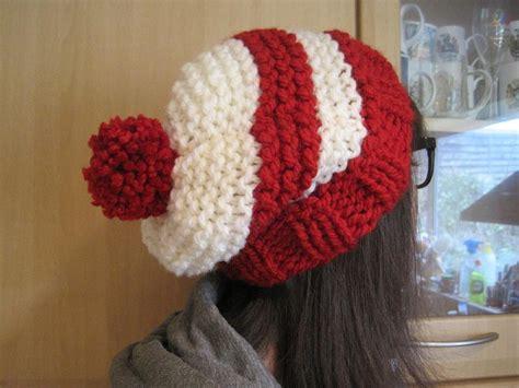 bobble hat pattern knitting a slightly slouchy stripy bobble hat knitting pattern by