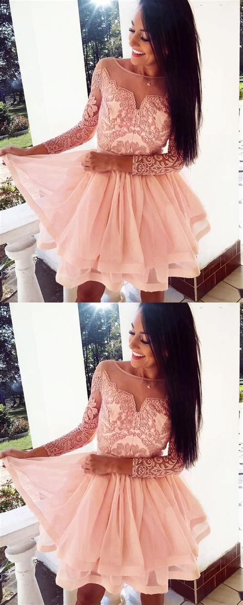 princess peral pink short homecoming dresseslong sleeve