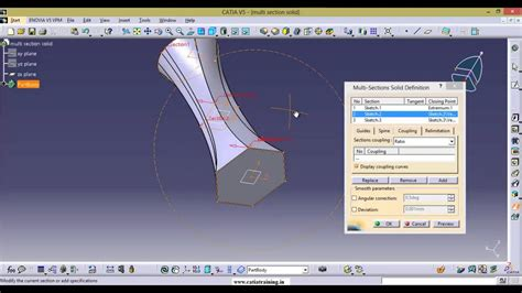 section view catia catia v5 multi section solid coupling modes youtube