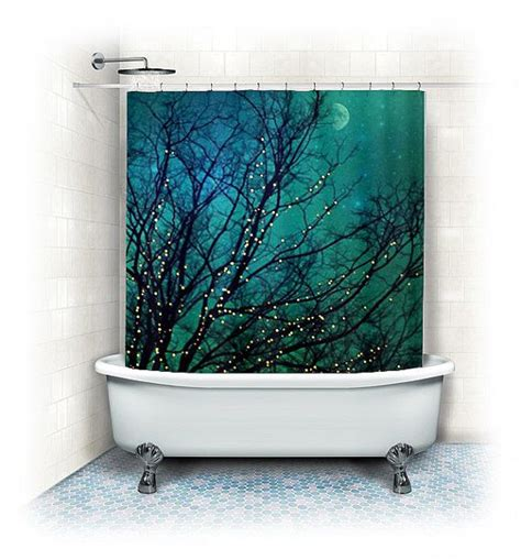 turquoise blue shower curtain aqua shower curtain quot magical night quot clouds lights stars