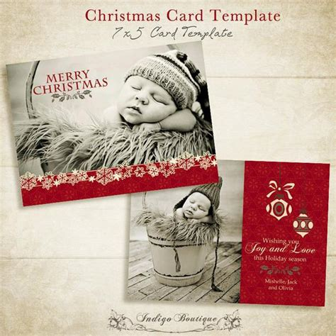 Items Similar To Christmas Card Template 5x7 Photo Card Template For Photographers And Etsy Card Templates