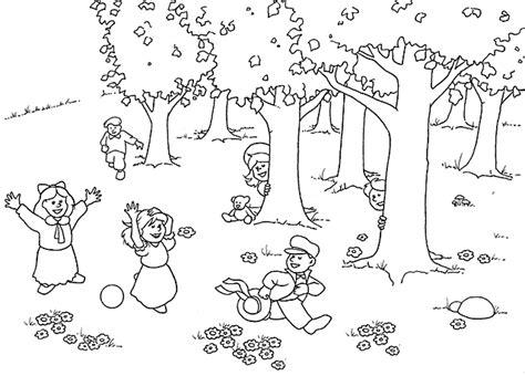 disegni di giardini da colorare bambini giocano nella natura disegni da colorare