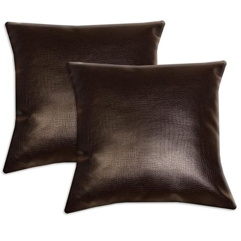 throw pillows for leather couch dark brown faux leather accent pillows set of 2