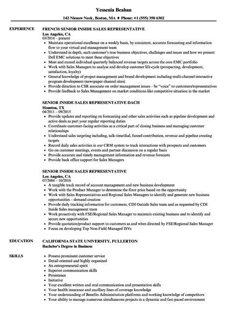 senior inside sales representative resume sles velvet