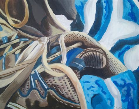 abstract acrylic tennis shoe painting