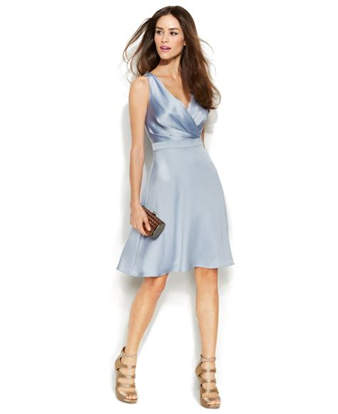 light blue satin dress calvin klein sleeveless satin surplice neck dress in blue