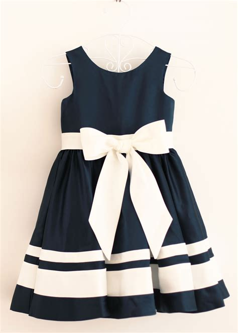 Ee  A Line Ee   Navy Blue Ivory Stripeower  Ee  Dress Ee   With A Big