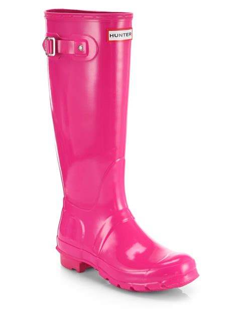 pink boots gloss finish original boots in pink lyst
