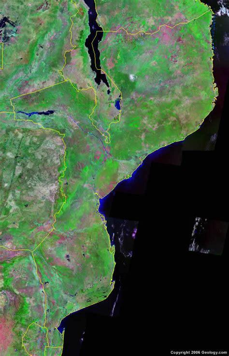 mozambique map  satellite image