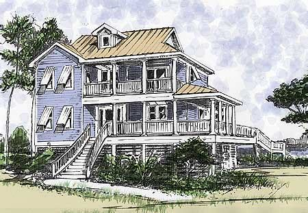 Plan W13034fl Beach House Plan With Two Story Great Room E Architectural Design