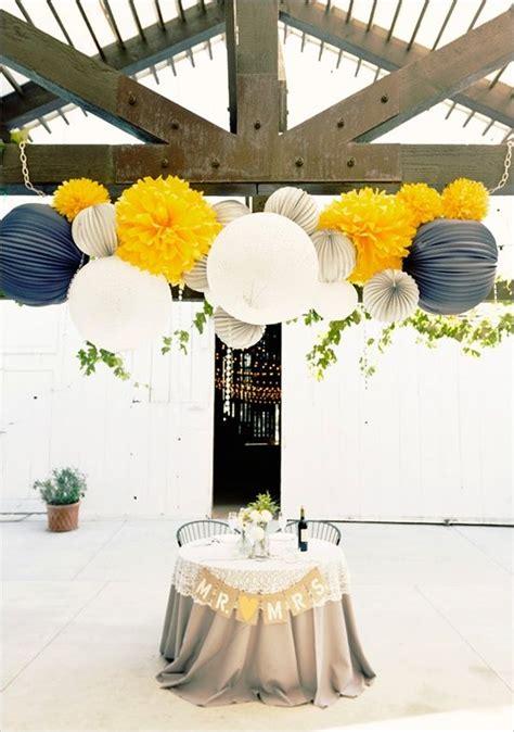 navy and yellow wedding decoration ideas