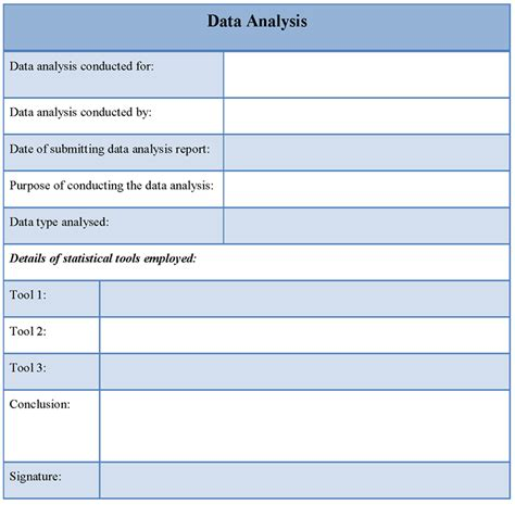 data template data analysis template exle exle of data analysis