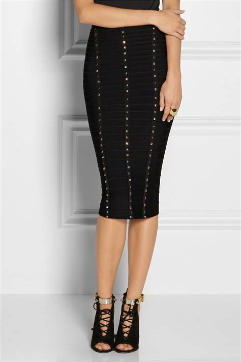 Premium Herve Leger Black Skirt Bodycon Bandage lyst herv 233 l 233 ger studded bandage skirt in black