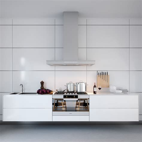 white symmetrical kitchen range with natural wooden