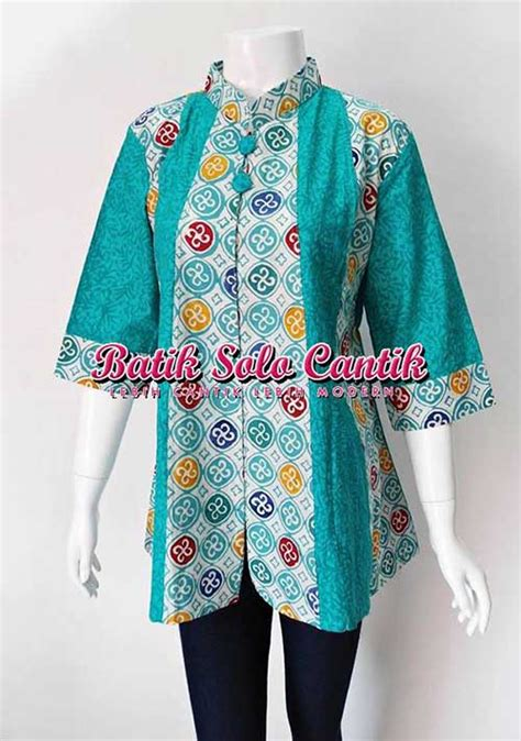 Limited Zakia Blouse Batik Kombinasi Murah model baju kerja batik modern 2015