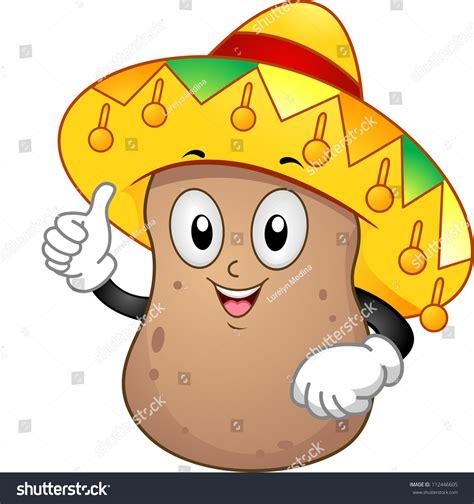 Promo Mascot Squishy Potato Boy And illustration potato mascot wearing mexican hat stock vector 112446605