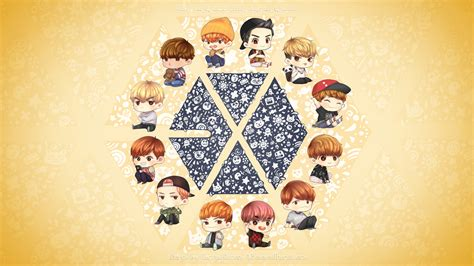 exo wallpaper with name exo cartoon ver wallpaper by tumza lamon