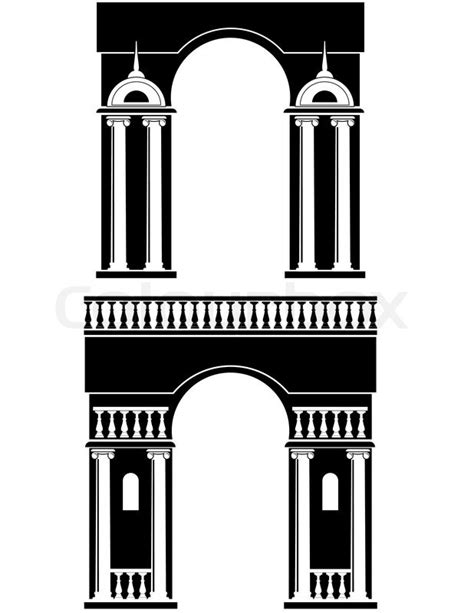 Architectural Design Plans architectural element silhouettes of triumphal arch with