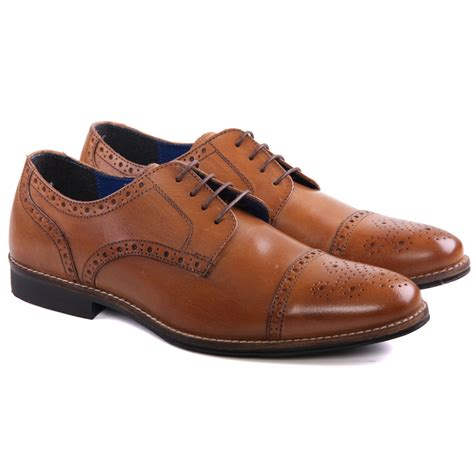 unze mens claydon leather brogue formal lace up shoes uk