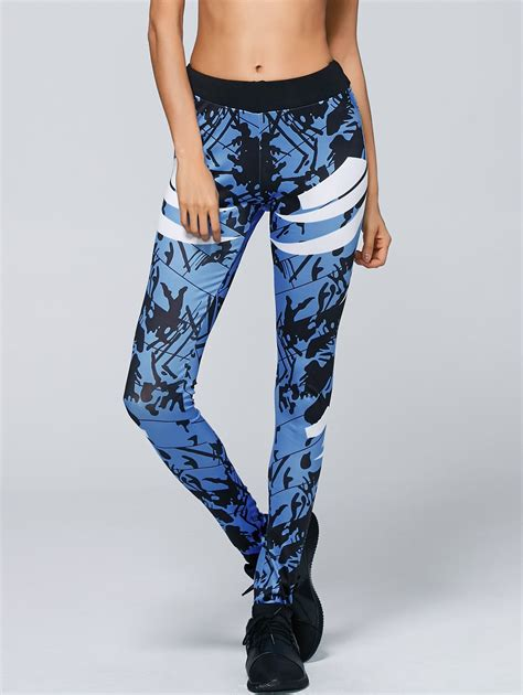 cheap patterned yoga pants abstract pattern yoga pants in blue sammydress com