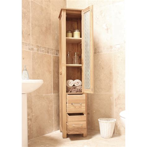Mobel Bathroom Cabinet Tall Storage Cupboard Solid Oak Bathroom Furniture Storage